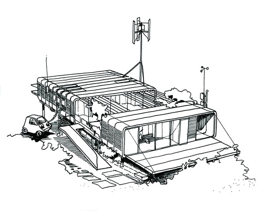 Zip-Up House Concept drawing (1968) - courtesy of Rogers Stirk Harbour + Partners. Image © Richard and Su Rogers
