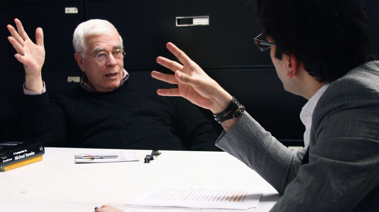 Iman Ansari with Peter Eisenman in his office, New York 2013. Image Courtesy of an-onymous.com