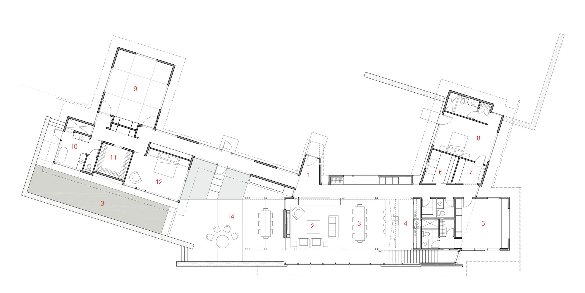 Mountain view home unites with surrounding landscape for Floor plan landscape