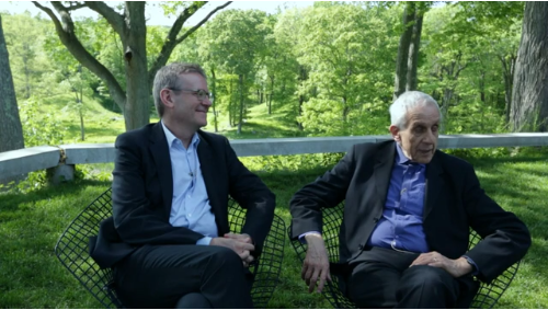 "Mark Wigley with Kenneth Frampton, during the filming of The Glass House: ""Conversations in Context"". Image Courtesy of http://vimeo.com/44405886"