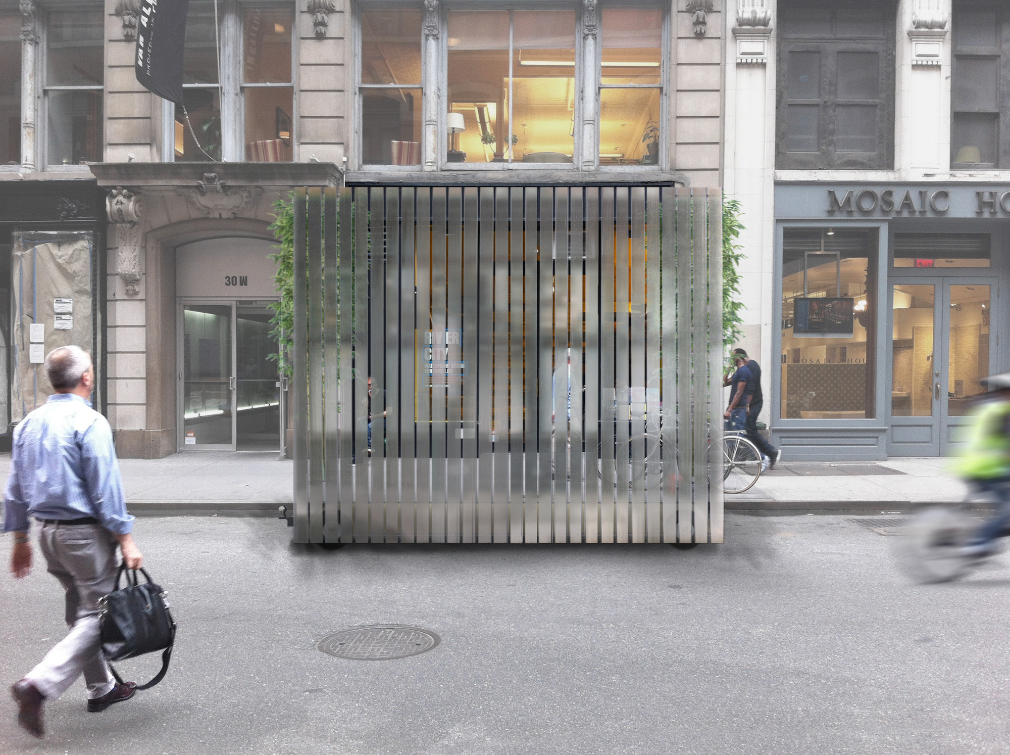Collective-LOK Wins Van Alen Institute's Ground/Work Competition, Street screen . Image © Collective-LOK
