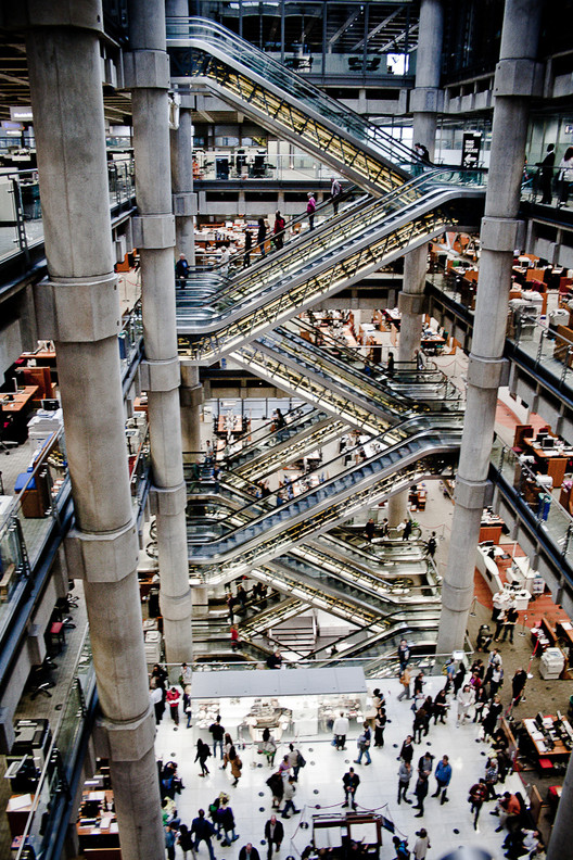 The heaviness of the main atrium in Lloyd's of Londons (Richard Rogers) main atrium evokes importance and gravitas. Image © Mark Ramsay