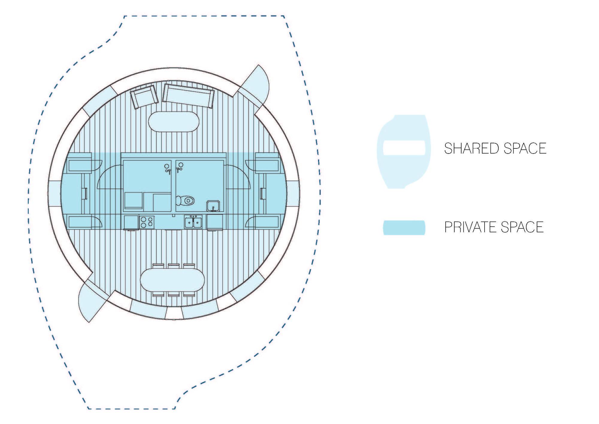 HALO Espacio Privado y Compartido. Cortesía del Equipo de Suecia