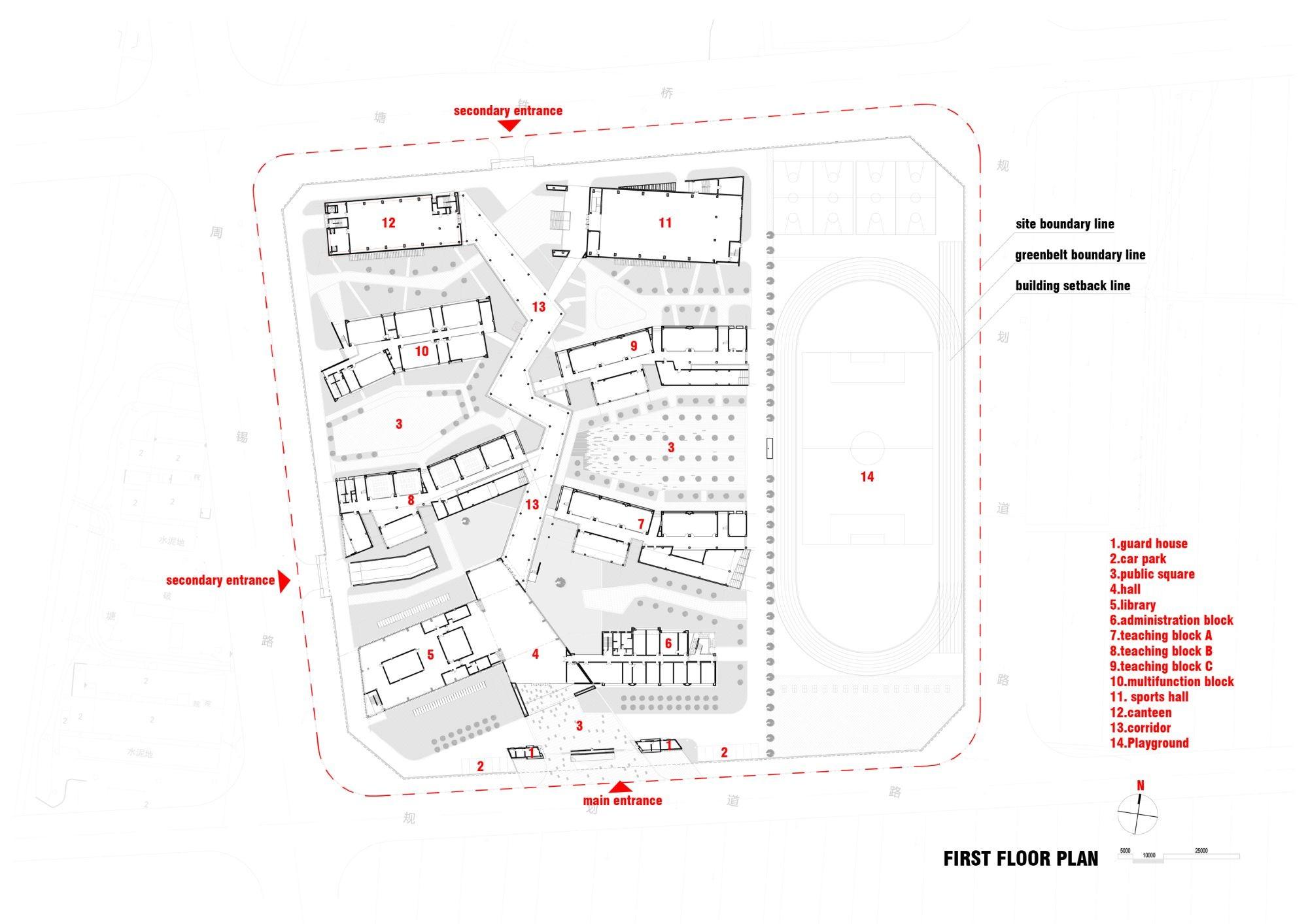 Taihu new town primary school minax archdaily for Site plan dimensions