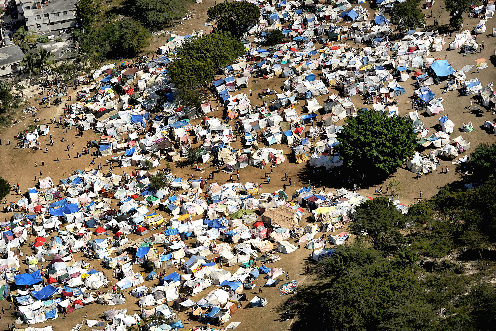 A tent city in Port-Au-Prince, Haiti. Image © Wikimedia Commons