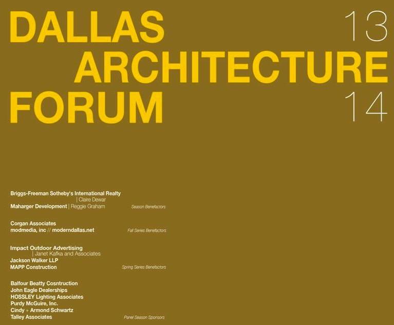 Dallas Architecture Forum Announces Its 2013-2014 Lecture Season
