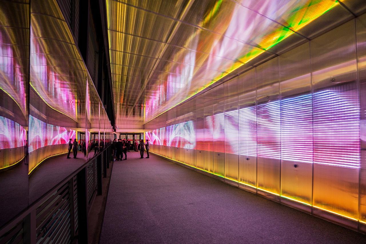 Pixel Corssing: tunel sensorial por Miguel Chevalier, Courtesy of Miguel Chavelier