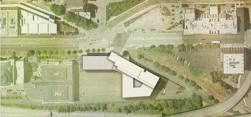 Tacoma Art Museum Expansion Site Plan. Image © Olson Kundig Architects