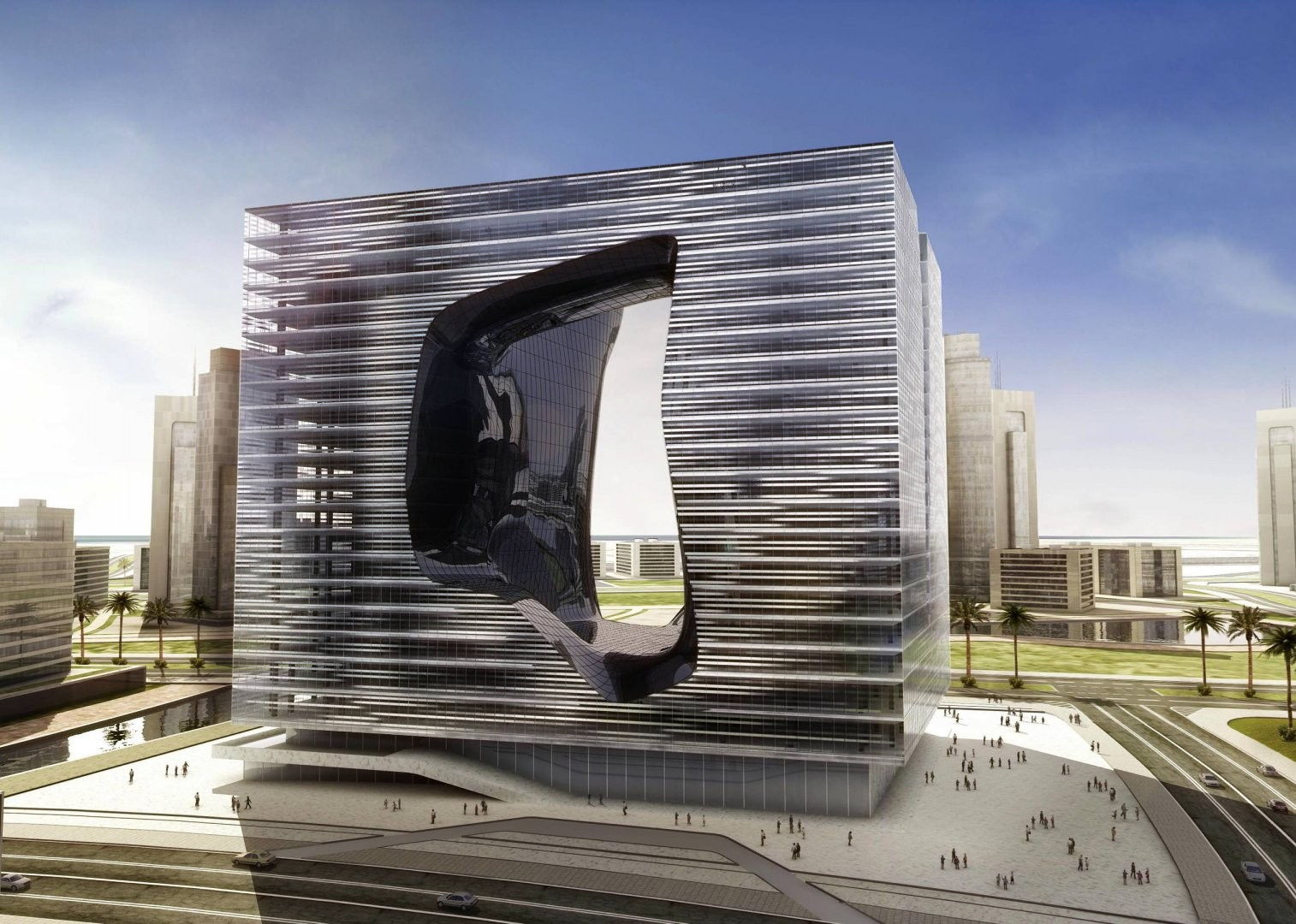 zaha hadid designs new office building and hotel for dubai. Black Bedroom Furniture Sets. Home Design Ideas