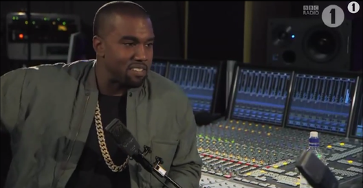 Kanye West being interviewed by Zane Lowe for BBC One.