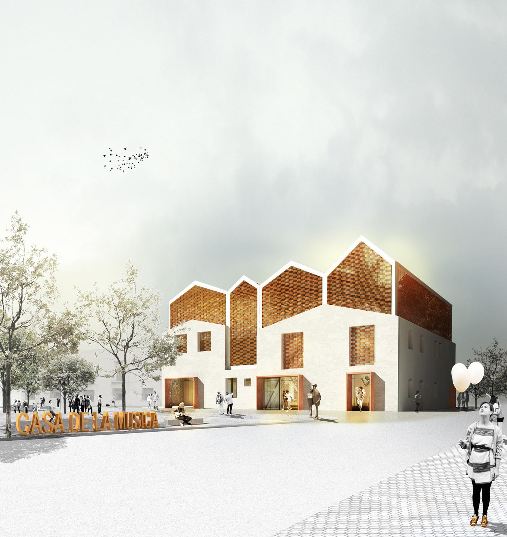 Primer Lugar Concurso Rehabilitación Casa de la Música en Grañén, © Equipo Primer Lugar