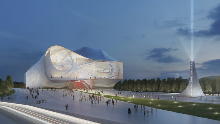 Sejong Center for Performing Arts / Asymptote Architecture, Night View (Front). Image © Asymptote Architecture