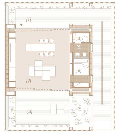[1] North Patio [2] Living Space [3] South Patio [4] Mechanical Room [5] Bathroom [6] Bedroom. Image