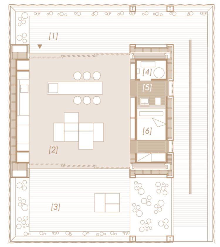 [1] Patio Norte [2] Espacio de Vida [3] Patio Sur [4] Habitación Mecánica [5] Baño [6] Dormitorio