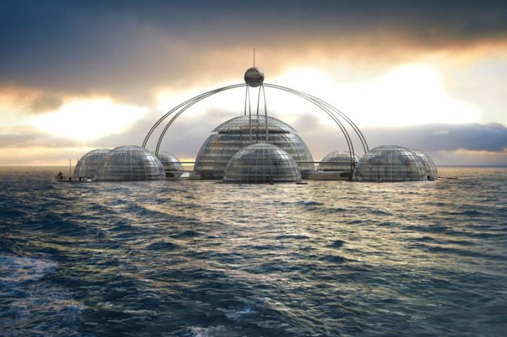 "Sub-Biosphere 2: Hábitat ""multi-pod"" sumergido bajo el agua, © Phil Pauley"