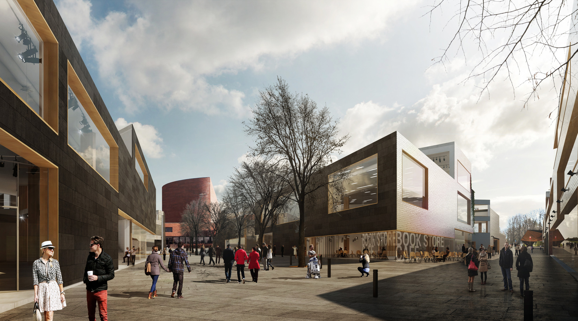 Hipsterkasbah (Otaniemi Campus, Aalto University) / ALA Architects, Boulevard Rendering. Image © ALA Architects