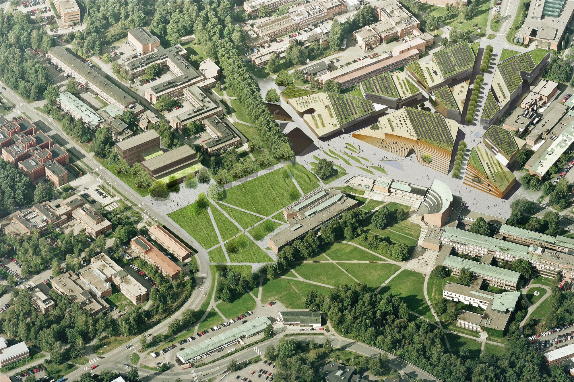 Aerial Rendering. Image © ALA Architects
