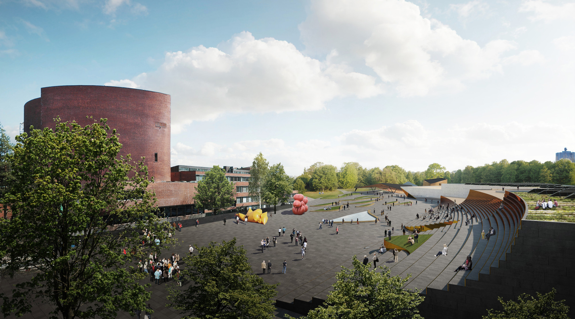 Plaza Rendering. Image © ALA Architects