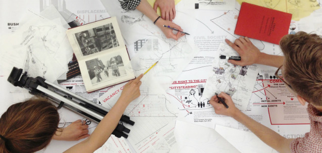 via Josh Barndt, Alexandra Castillo Kesper, Braden Crooks, Aubrey Murdock, Joel Stein, and Charles Wirene. This year Parsons formed a partnership with New York City's Center for Social Innovation to incubate design-led social innovation projects by Parsons students and alumni. One of the projects in development is Citysteading, a community-driven process for empowering and engaging marginal-ized communities. Image Courtesy of Metropolis Magazine