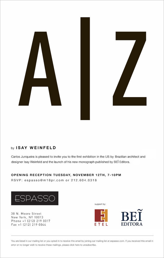Exhibition: Isay Weinfeld at Espasso
