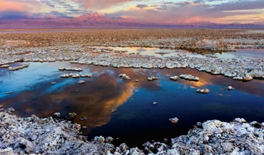 Paisajes del desierto: Salar en Atacama