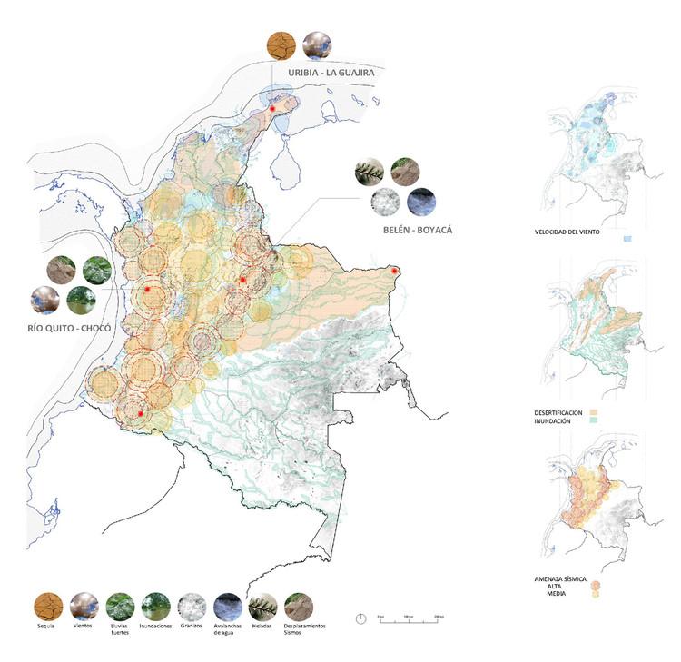 Colombia. Mapa de desastres naturales. Áreas de actuación seleccionadas. Image Cortesía de M3H1 Arquitectura