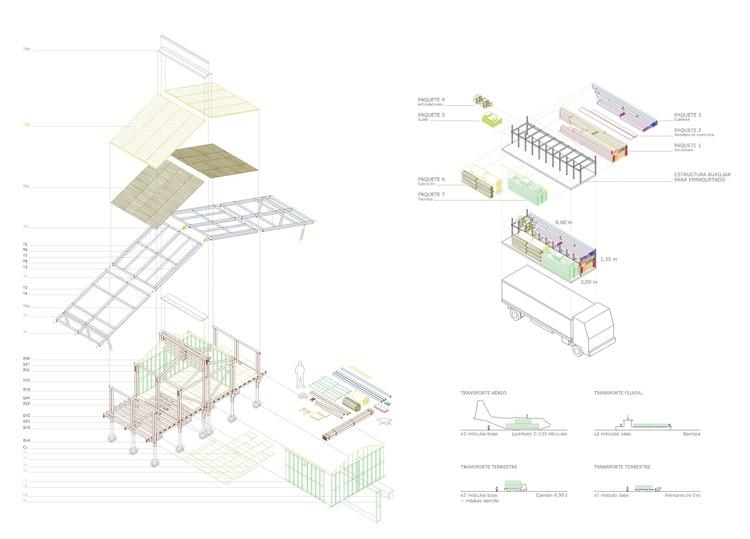 Axonometría + empaquetamiento + transporte. Image Cortesía de M3H1 Arquitectura
