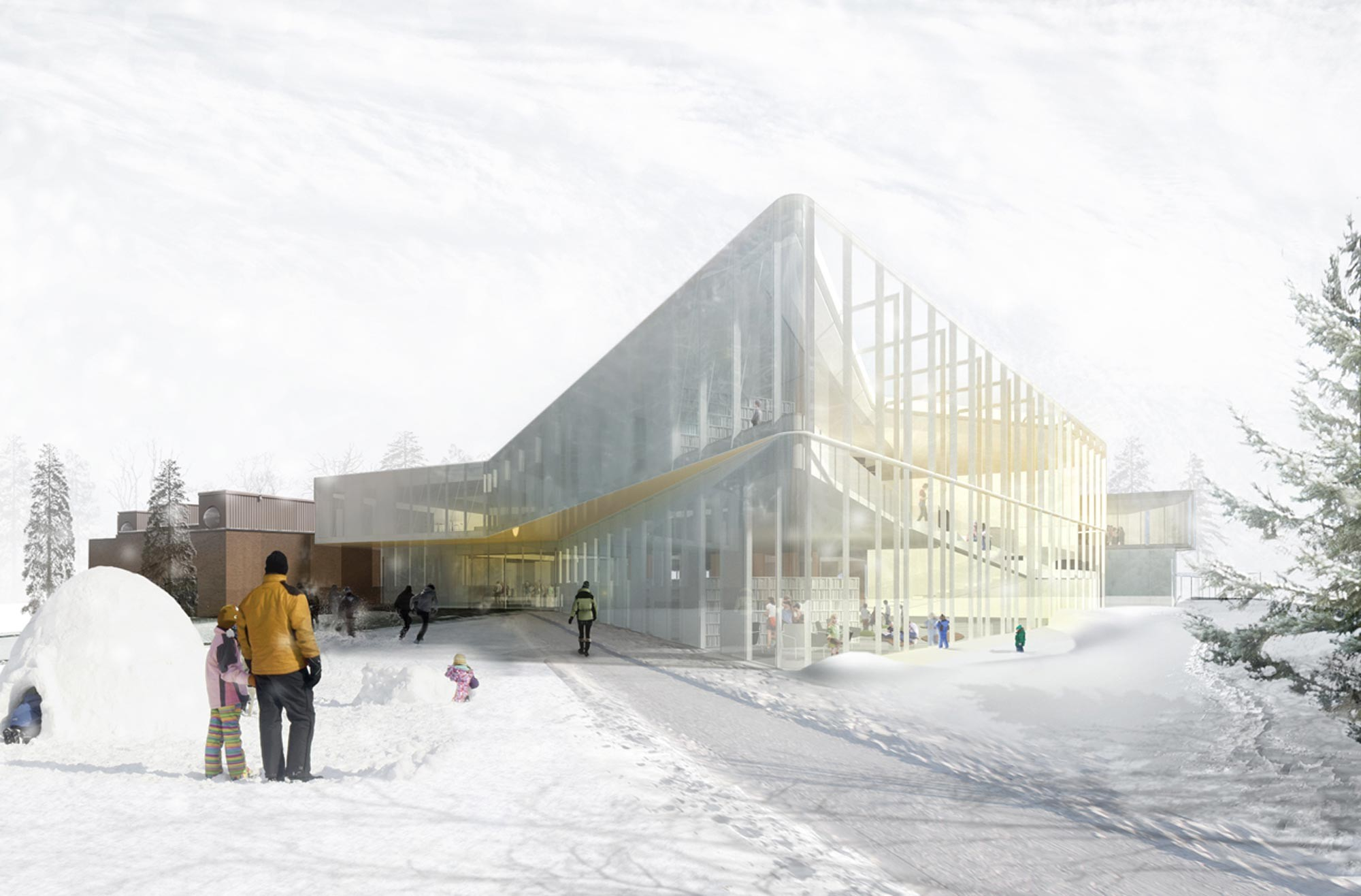 """Pierrefonds Library"" Winning Entry / Chevalier Morales Architectes, Courtesy of Chevalier Morales Architectes"