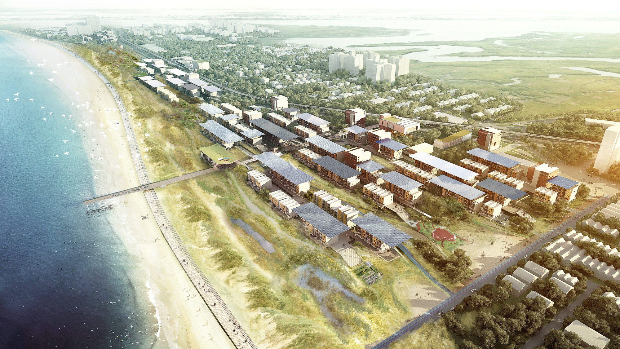 Aerial View: The strategy is to increase the density and intensity of both the ecological and urban characteristics of the site, maximizing the potential benefit of each. Image Courtesy of Ennead Lab