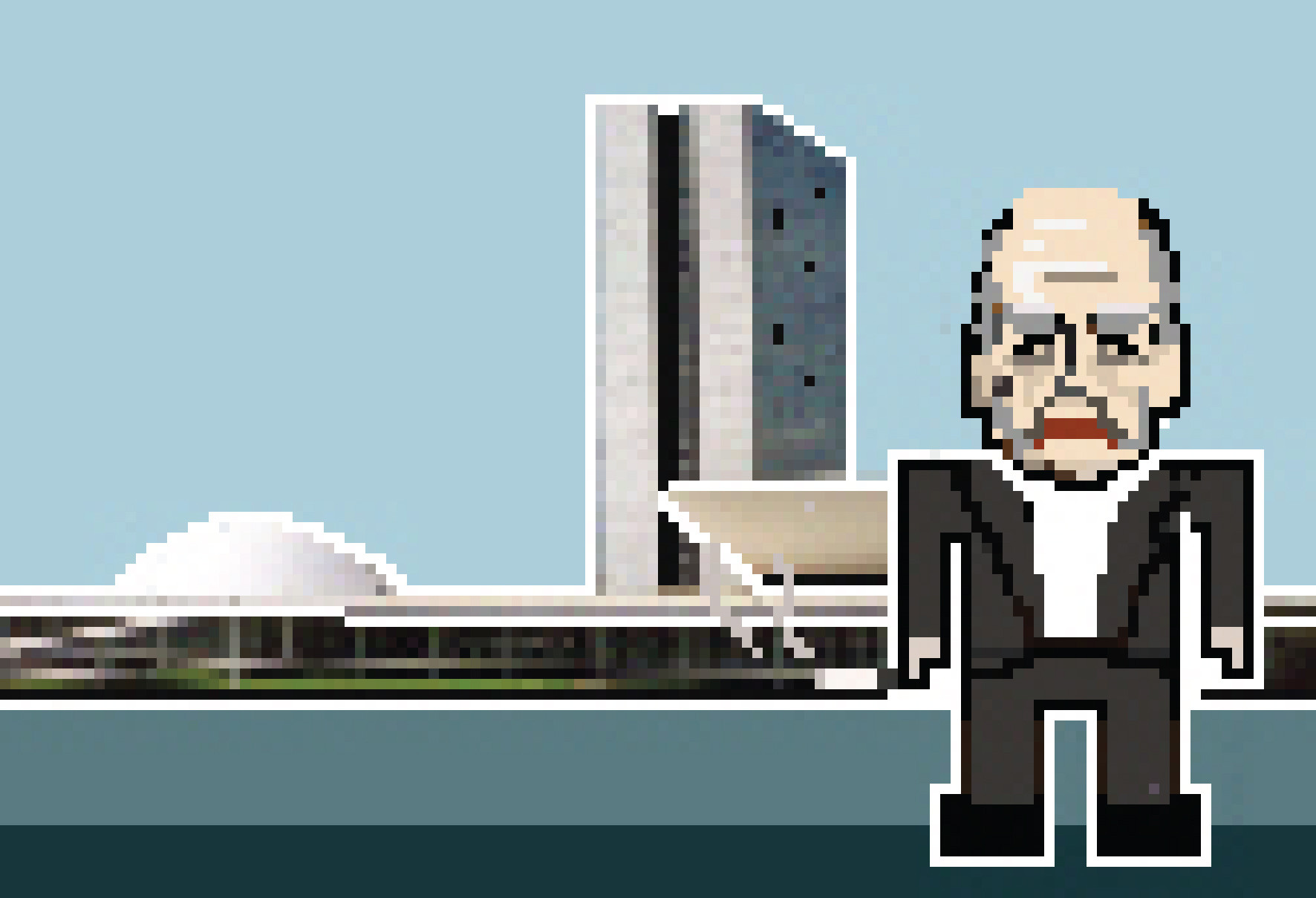 ARCHIPIX: 8-Bit Architects (Part Two), Brasilia / Oscar Niemeyer. Image Courtesy of Federico Babina