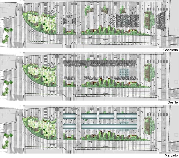 Nuevo Contexto Urbano, Espacios Públicos Flexibles: 10 principios básicos, Fig. 4. Mismo lugar, distinto uso, distinto espacio. Concurso Plaza de Mula. Murcia.