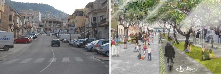 Fig. 27. Sección viaria actual. Sección proyectada, Día sin coches. Plan Estratégico de Intervención en la Travesía Urbana de Pliego. Murcia.