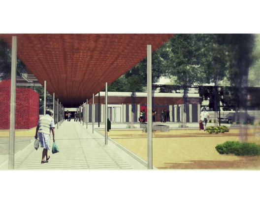 Acceso de la Sede social desde la nueva Plaza Cívica.. Image Courtesy of Equipo de Consultores