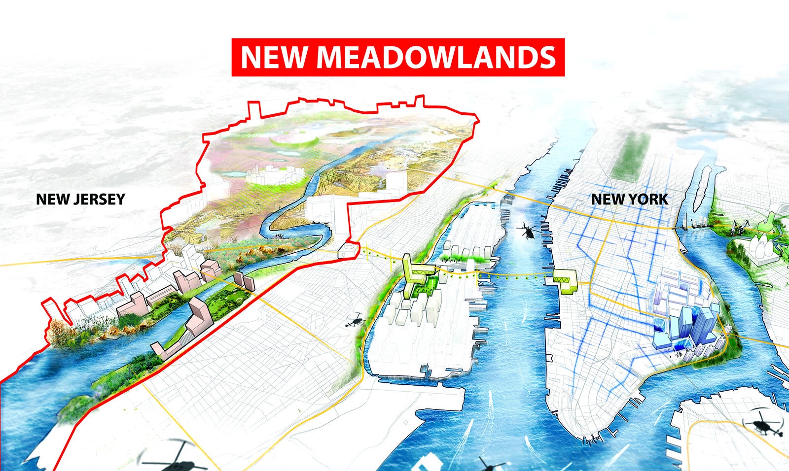 New Medowlands: Productive City + Regional Park. Image Courtesy of HUD