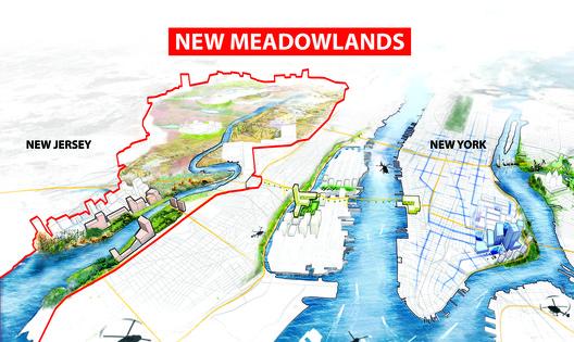 New Medowlands: Productive City + Regional Park. Image Courtesy of HUD