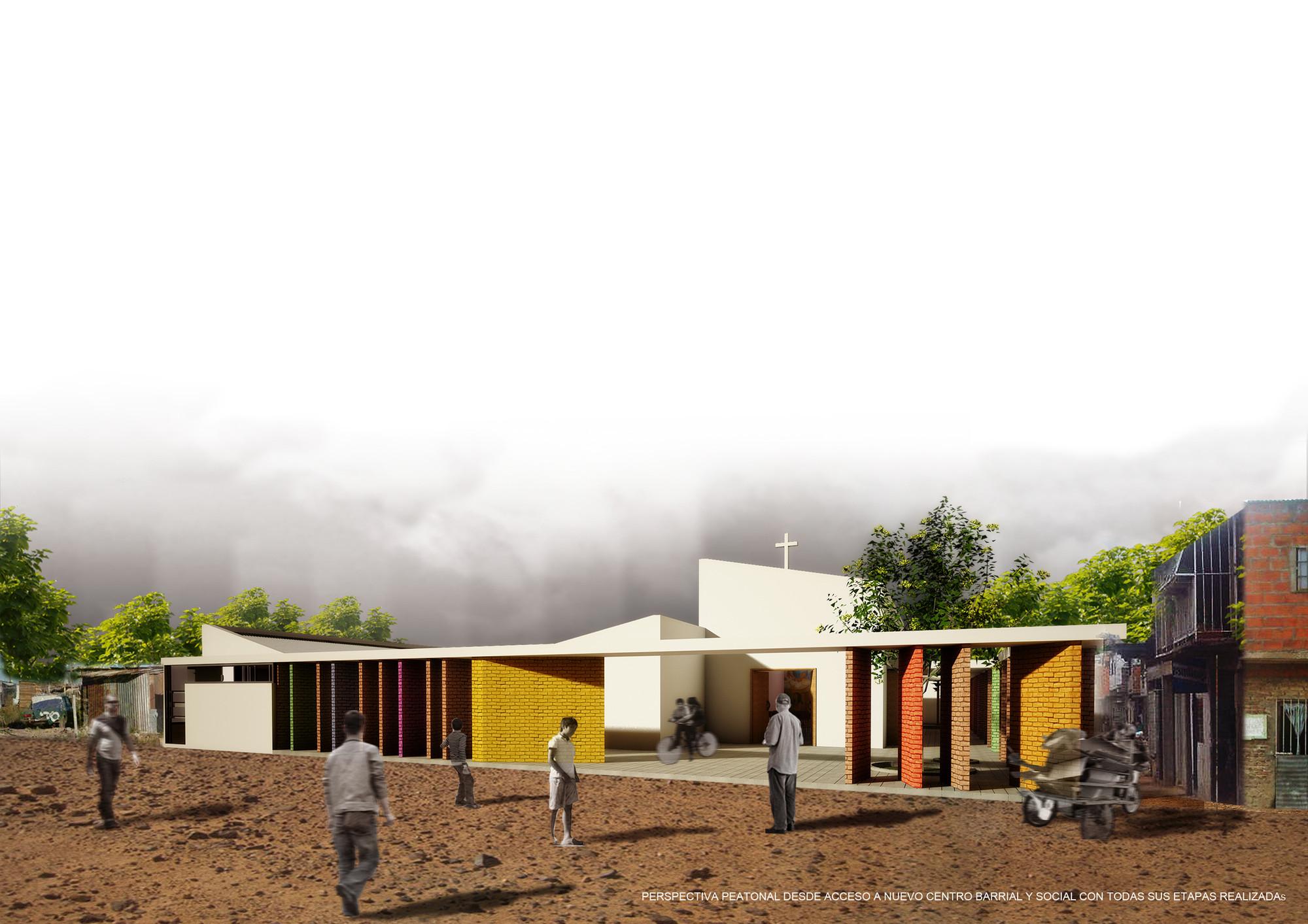 Primer Lugar Concurso Nacional Capilla y Centro Comunitario Nuestra señora del Perpetuo Socorro, © Equipo Primer Lugar