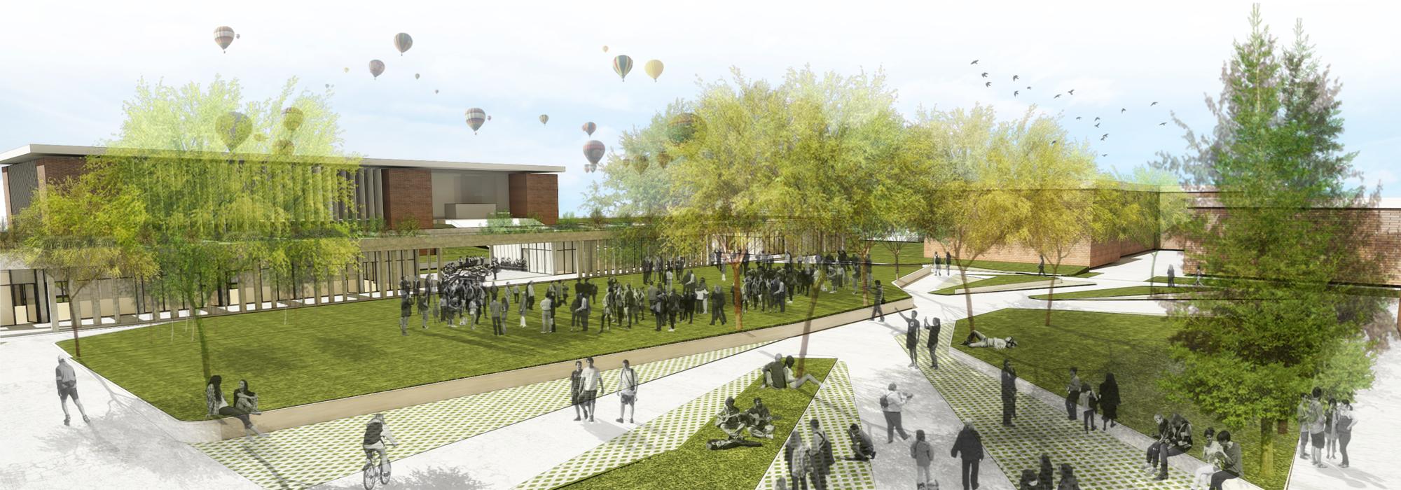 """Primer Lugar  Concurso para el """"Master Plan Campus Universidad Católica de Córdoba"""", 01 Edificio Plaza Agora. Image © Equipo Primer Lugar"""