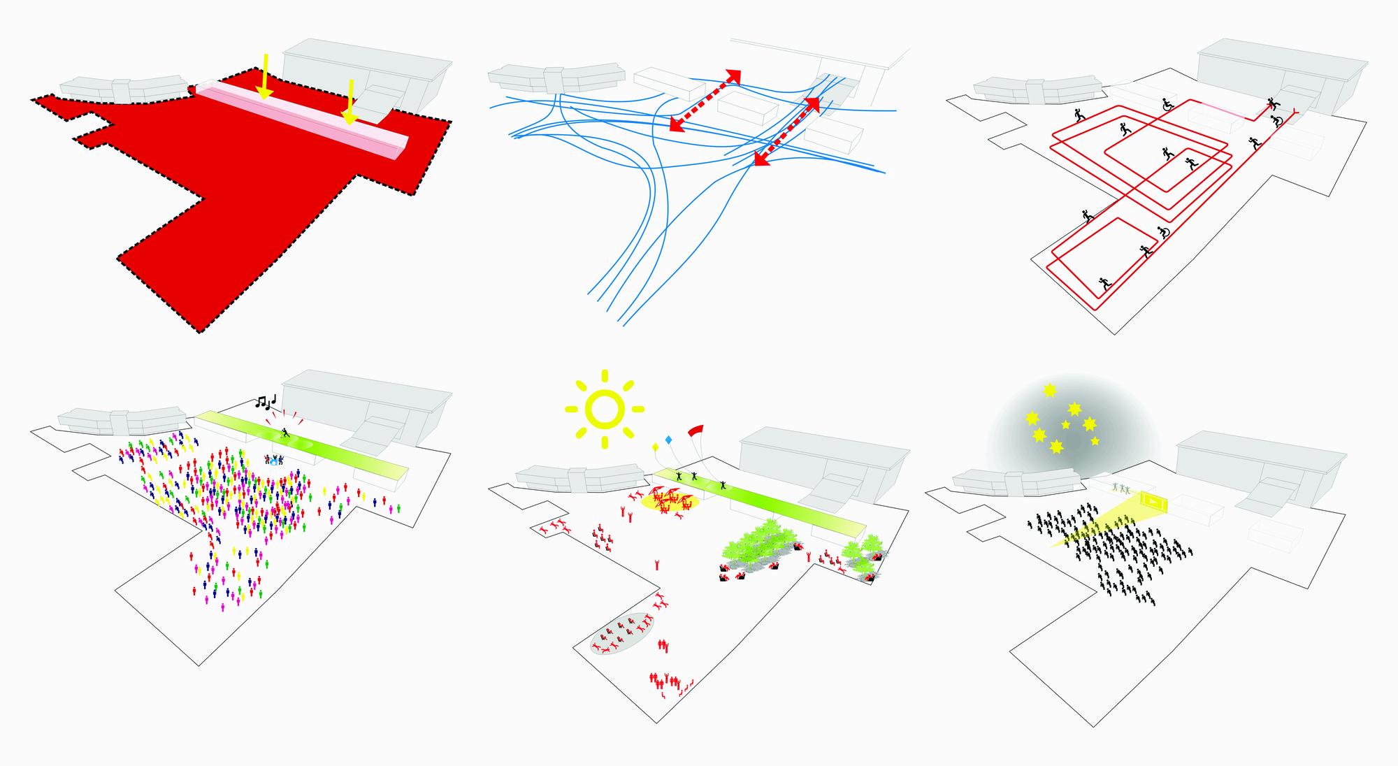 06 Esquemas e ideas que favorezcan la interacción social,  para el nuevo edificio-plaza Ágora. Image © Equipo Primer Lugar
