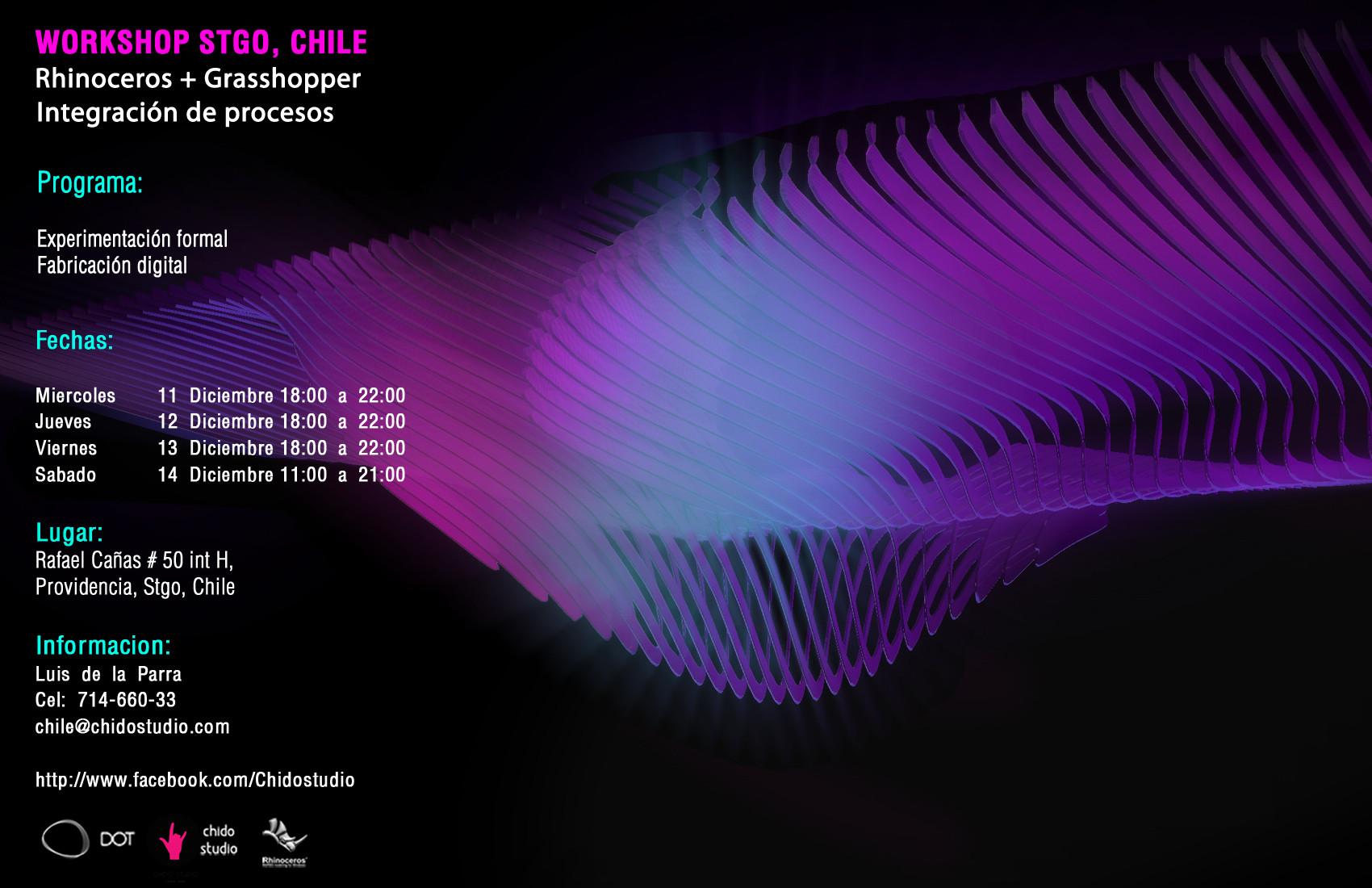 Workshop Rhinoceros + Grasshopper / Integración de Procesos / Chido Studio [¡Sorteamos un Cupo!]