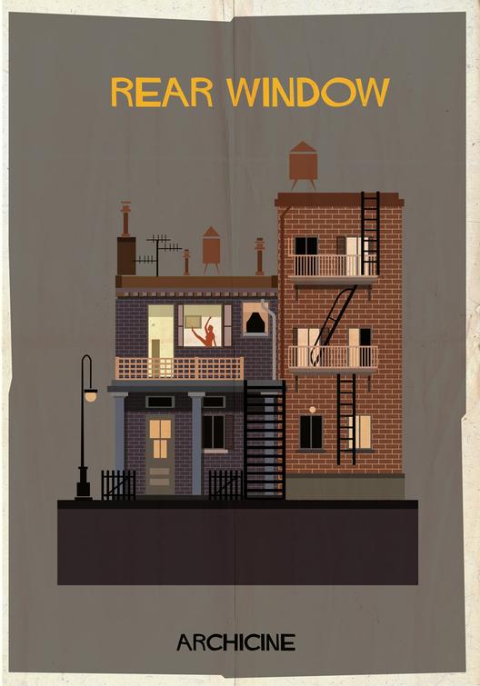 ARCHICINE: Ilustraciones de la Arquitectura en las películas, Rear Window. Directed by Alfred Hitchcock. Imagen cortesía de Federico Babina