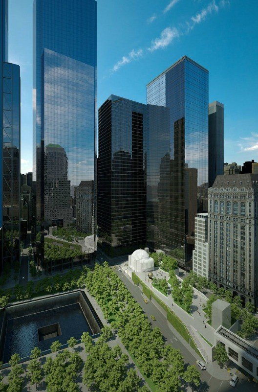 Elevated Park Planned for World Trade Center, Early Schematic Rendering of St. Nicholas Greek Orthodox Church and Liberty Park. Image Courtesy of Tribeca Citizen