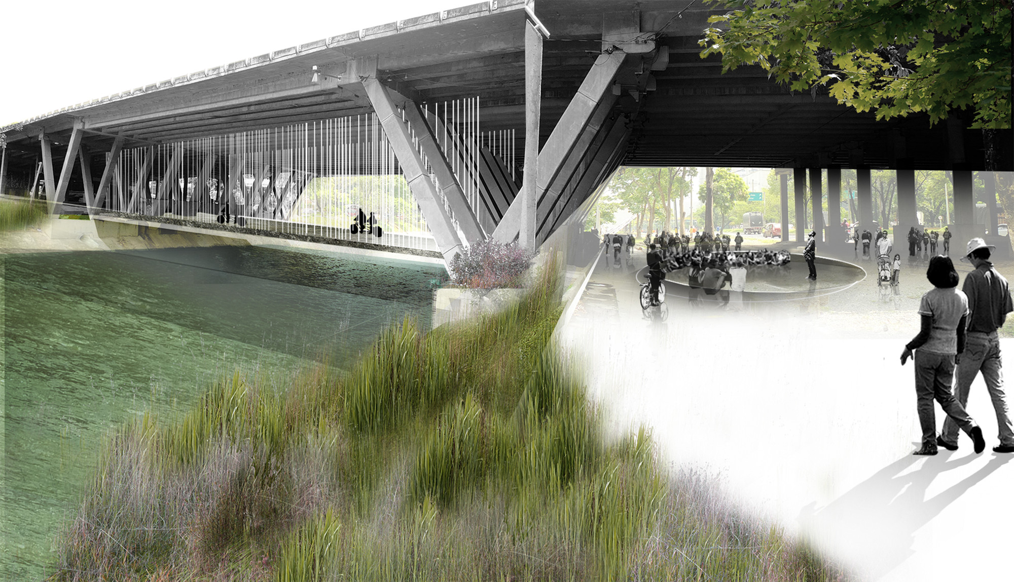 Bajos del puente. Image Courtesy of Equipo Segundo Lugar