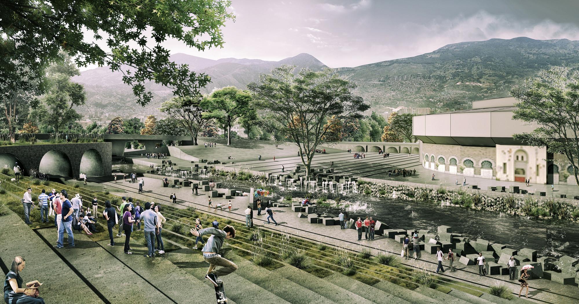 Segundo Lugar Concurso Público Internacional de Anteproyectos Parque del Río en la ciudad de Medellín, Zona Macarena. Image Courtesy of Equipo Segundo Lugar