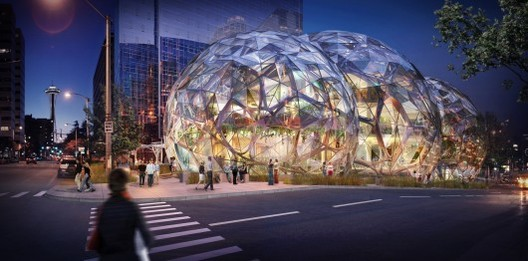 Why Workspaces are Obsessed with the Open Plan, NBBJ's tri-sphere biodome planned for Amazon's downtown Seattle headquarters. Image © NBBJ