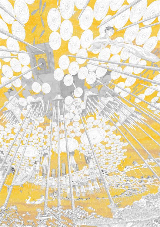 """""""La Novela de Realismo Mágico"""": Las abejas ya no cosechan miel, sino """"luz líquida"""", una muy valorada fuente de energía sin emisiones de carbono. Imagen © Viktor Westerdahl"""