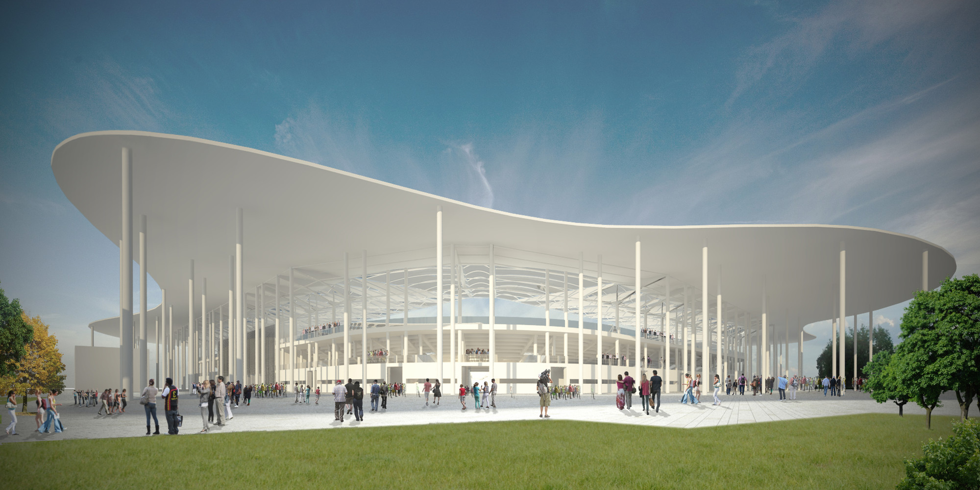 Competition Entry: Ruch Chorzów Football Stadium / Andrea Maffei Architects, View towards entrance. Image Courtesy of Andrea Maffei Architects