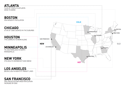 The cities explored in the report. Image © MIT Center for Advanced Urbanism