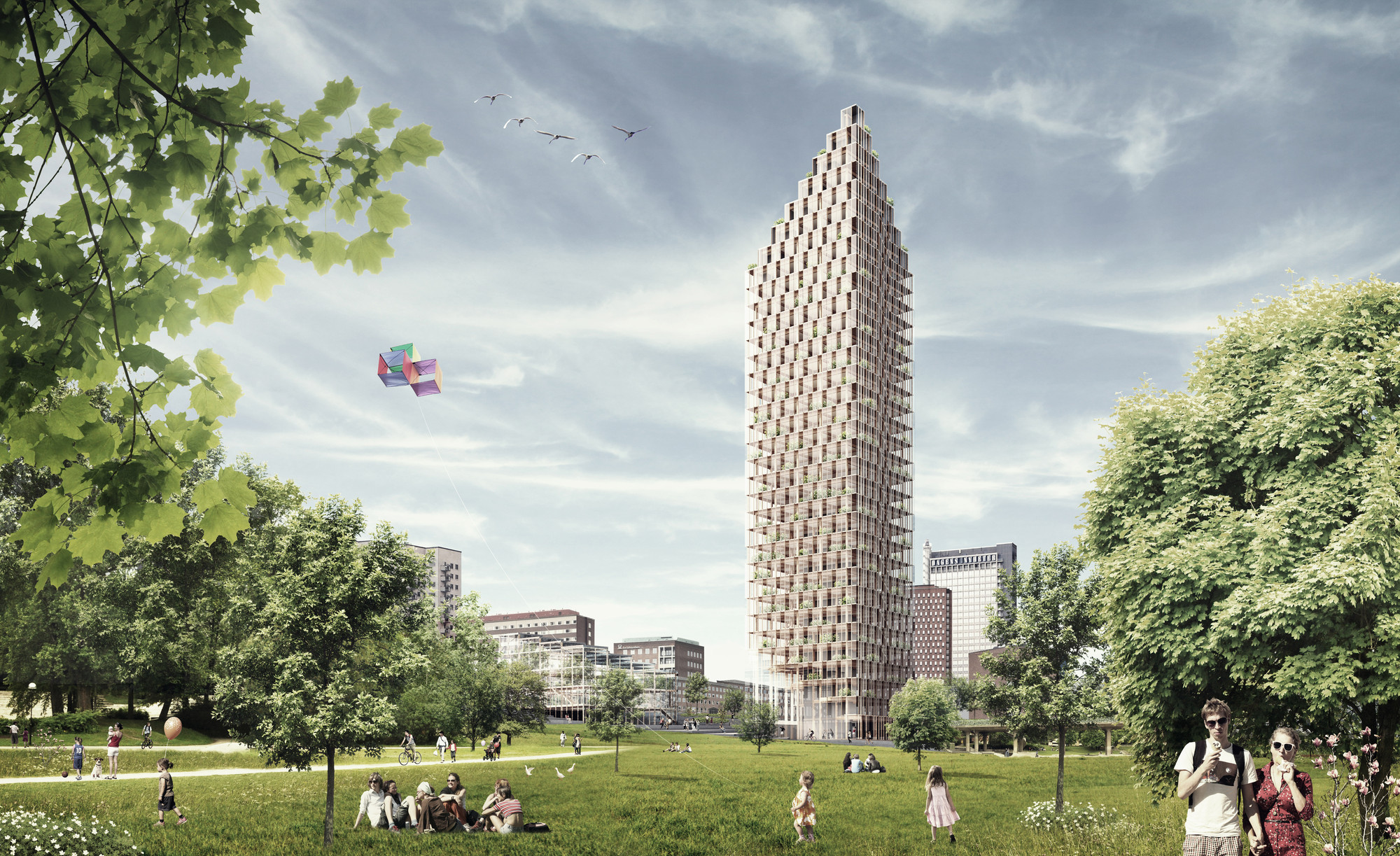 C.F. Møller and DinnellJohansson's Wooden Skyscraper Wins International Competition, Wooden Skyscraper from the park. Image Courtesy of C.F. Møller and DinellJohansson