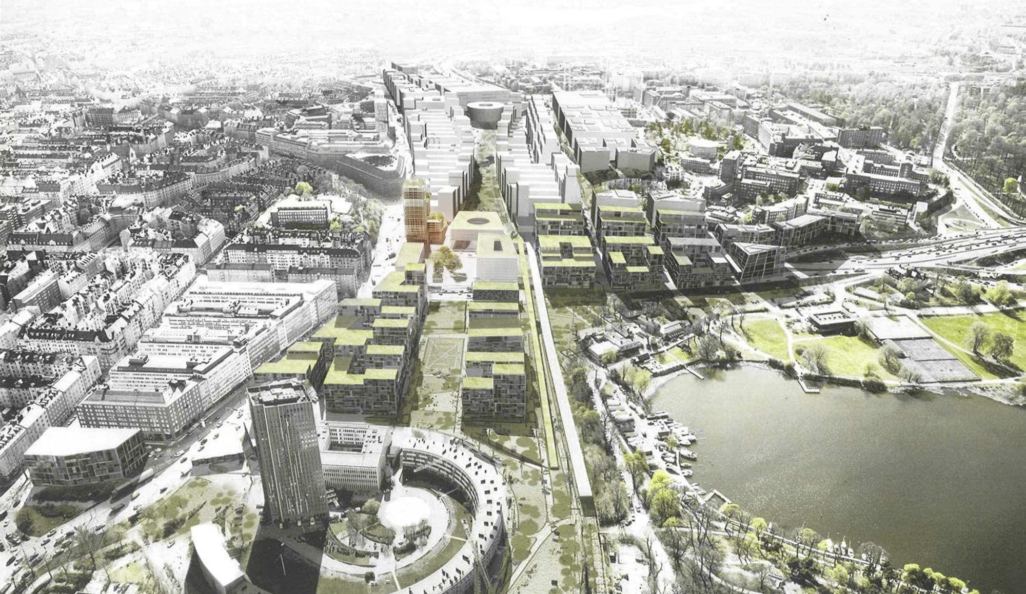 C.F. Møller And DinnellJohanssonu0027s Wooden Skyscraper Wins International  Competition,Vertical Urban Quarter: View From