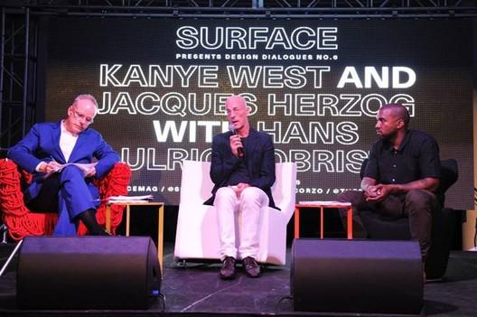 Hans Ulrich Obrist, Jacques Herzog, Kanye West. Image © Seth Browarnik/startraksphoto.com, via Surface Magazine's Facebook Page
